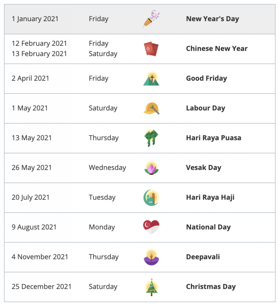Singapore MOM gazetted Public Holidays for 2021
